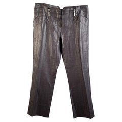 Christian Dior Metallic Gray Linen Cropped Pants Trousers Size 44