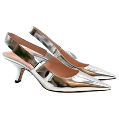 Christian Dior Metallic Leather Slingback Sandals 38.5