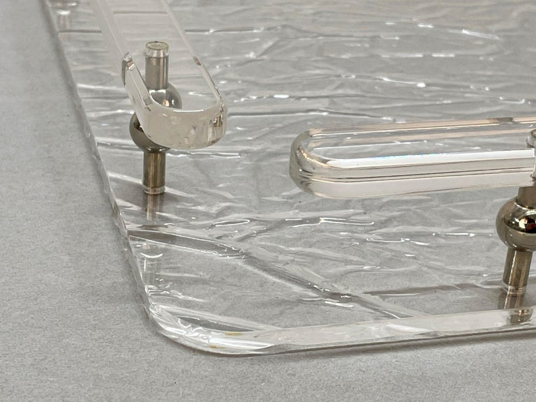 Christian Dior Midcentury Crystal Lucite Serving Tray after Willy Rizzo, 1980s For Sale 6