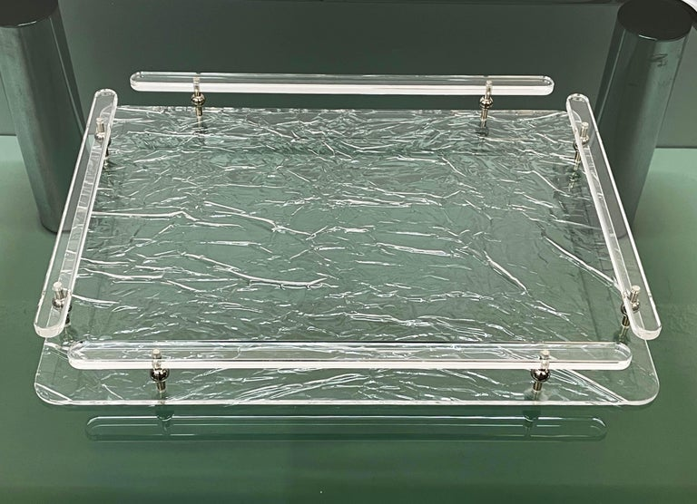 Mid-Century Modern Christian Dior Midcentury Crystal Lucite Serving Tray after Willy Rizzo, 1980s For Sale