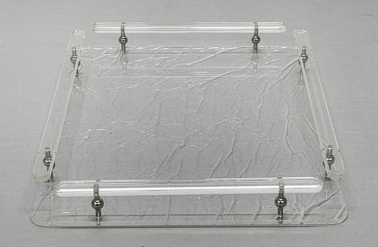 20th Century Christian Dior Midcentury Crystal Lucite Serving Tray after Willy Rizzo, 1980s For Sale