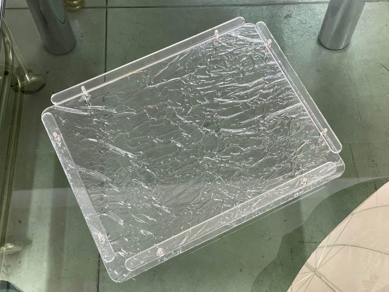 Christian Dior Midcentury Crystal Lucite Serving Tray after Willy Rizzo, 1980s For Sale 1