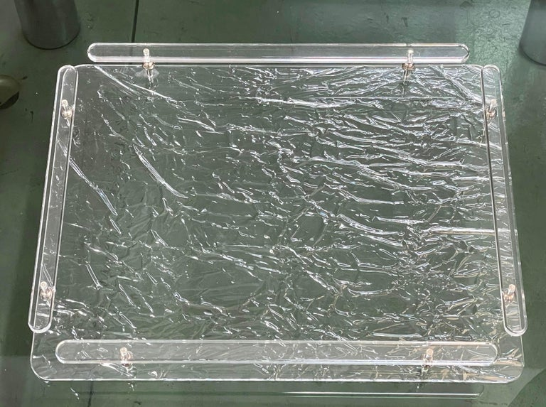 Christian Dior Midcentury Crystal Lucite Serving Tray after Willy Rizzo, 1980s For Sale 3