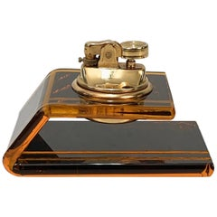 Christian Dior Midcentury Lucite and Brass French Table Lighter, 1970s