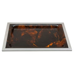 Christian Dior Midcentury Tortoiseshell and Lucite Italian Serving Tray, 1970s