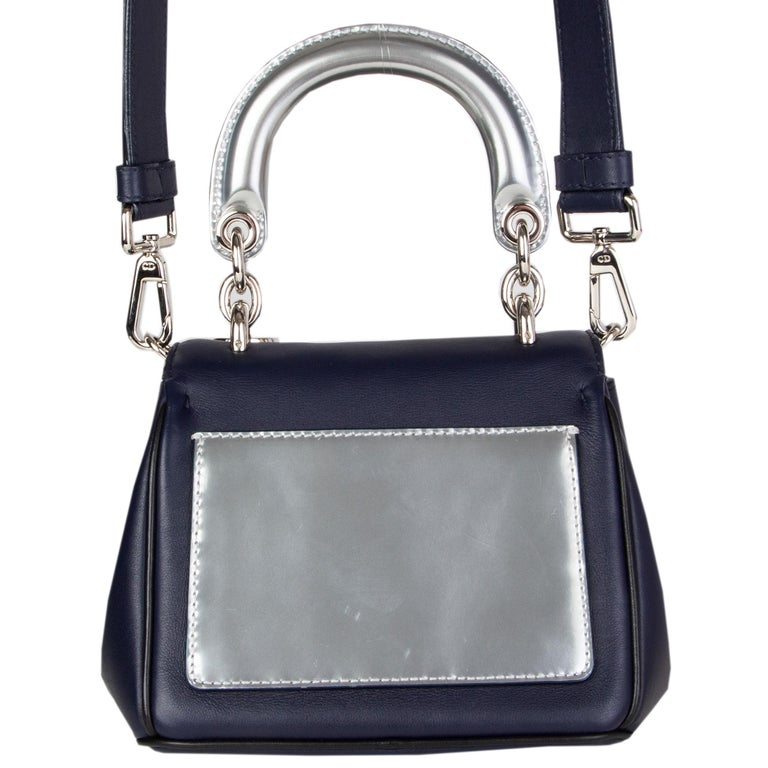 Black CHRISTIAN DIOR midnight blue leather BE DIOR MINI Shoulder Bag For Sale