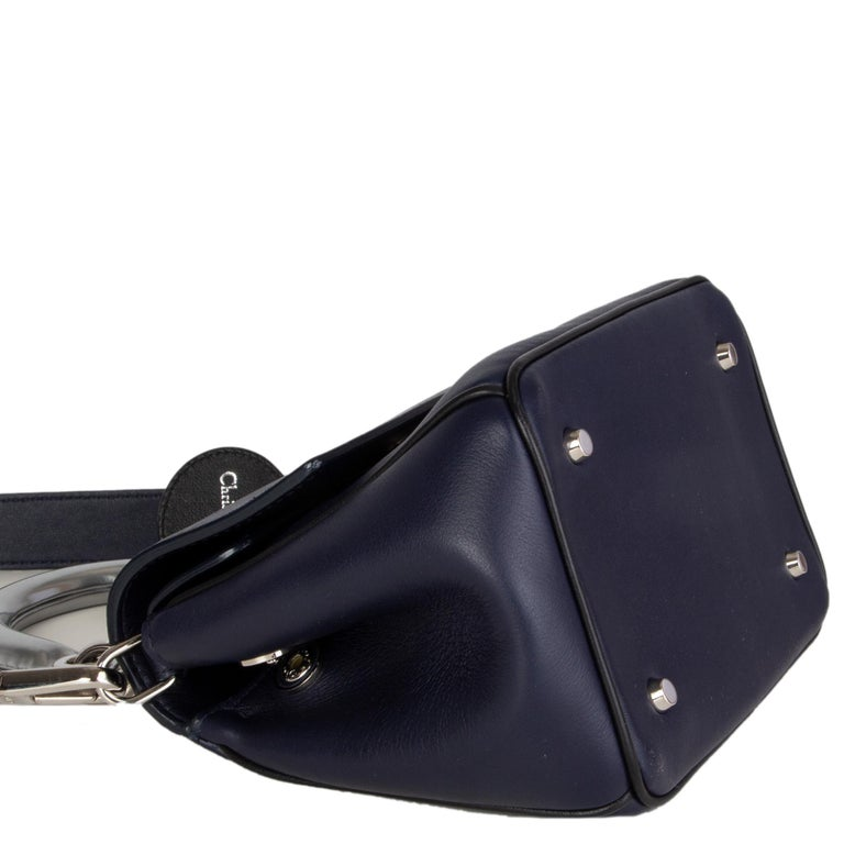 CHRISTIAN DIOR midnight blue leather BE DIOR MINI Shoulder Bag In Excellent Condition For Sale In Zürich, CH