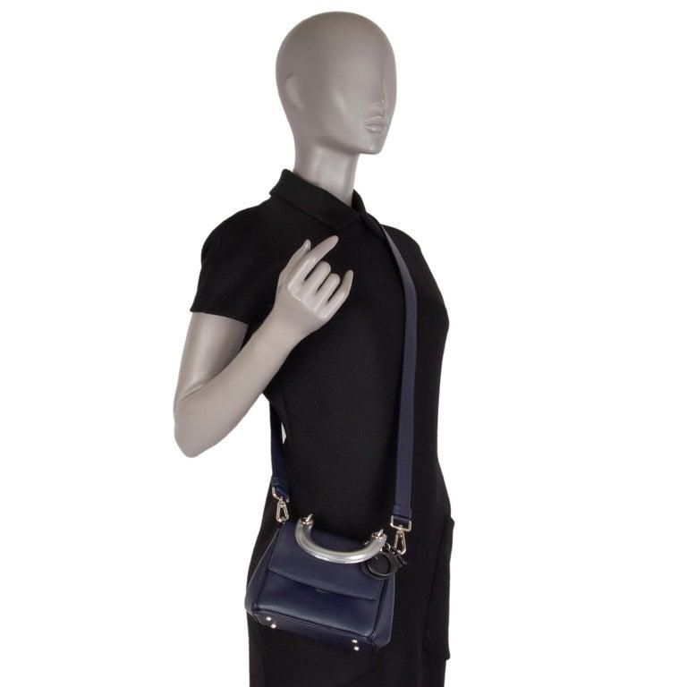 CHRISTIAN DIOR midnight blue leather BE DIOR MINI Shoulder Bag For Sale 2