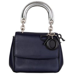 CHRISTIAN DIOR midnight blue leather BE DIOR MINI Shoulder Bag
