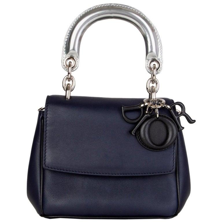 CHRISTIAN DIOR midnight blue leather BE DIOR MINI Shoulder Bag For Sale
