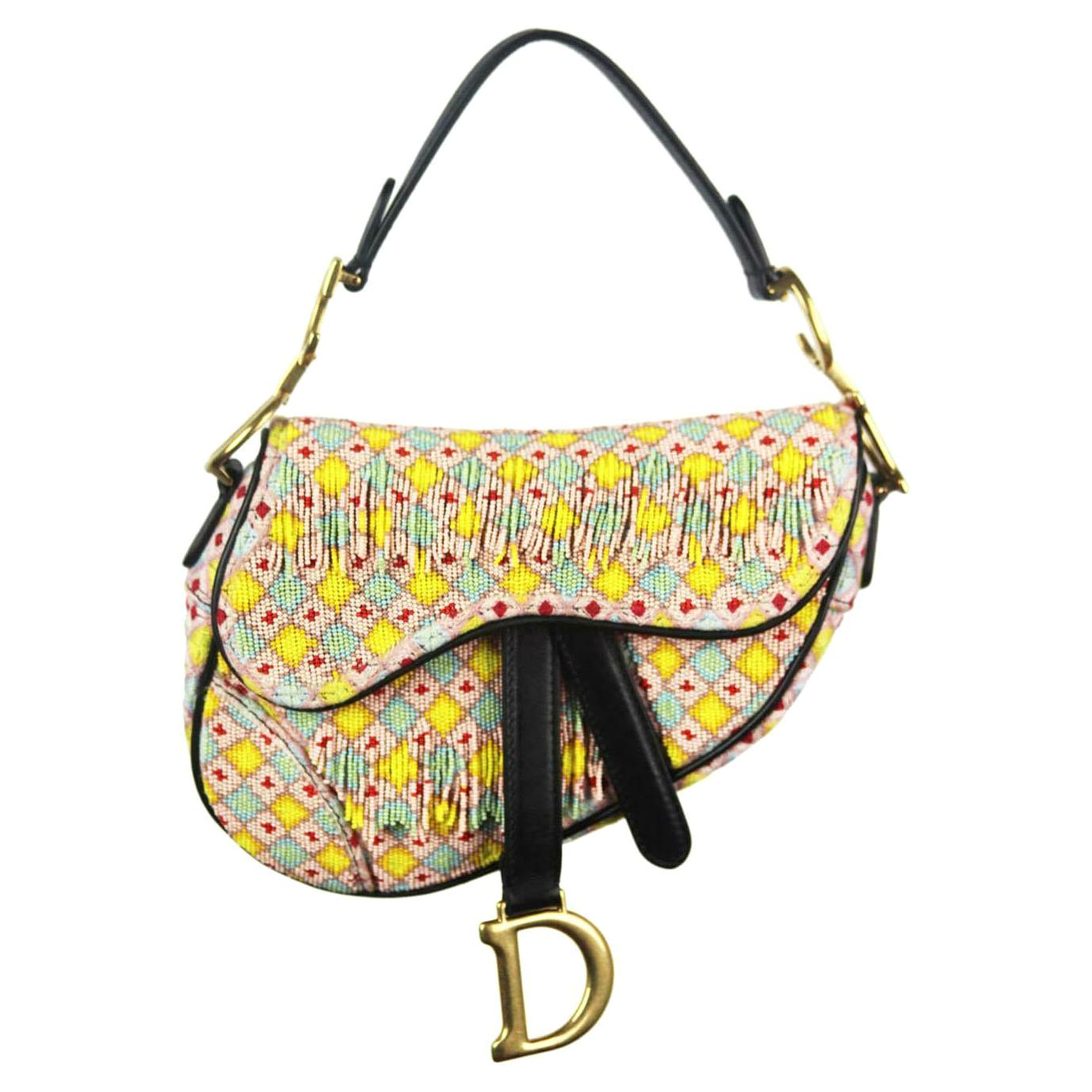Christian Dior Mini Saddle Bead Embellished Leather Handbag