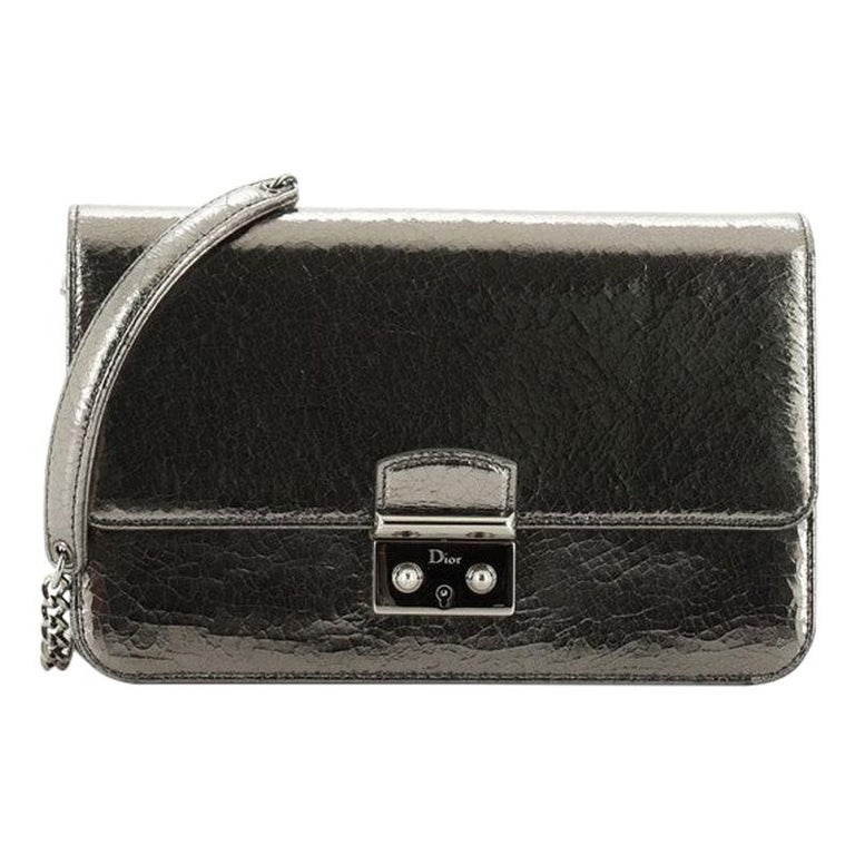 Christian Dior Miss Dior Promenade Pouch Crinkled Patent Large For Sale