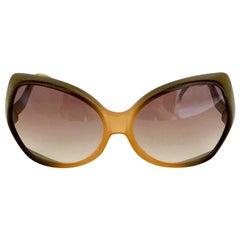 Christian Dior Model D06 Gradient Amber Khaki Oversized Sunglasses, 1970s