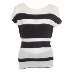 Christian Dior Monochrome Striped Slit Back Detail Tapered Waist Sweater Top M