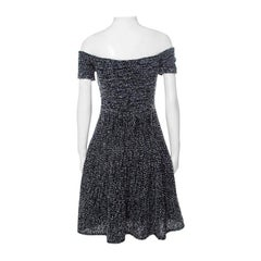 Christian Dior Monochrome Tweed Off Shoulder Fit and Flare Dress S