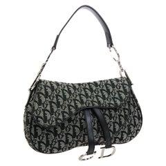 Christian Dior Monogram Blue Gray 'CD' Logo Fabric Leather Silver Shoulder Bag