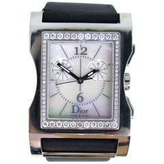 Christian Dior Mother of Pearl Stainless Steel Diamonds Wristwatch