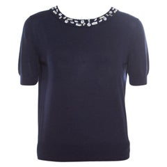 Christian Dior Navy Blue Cotton Silk Crystal Embellished Collar Sweater Top M