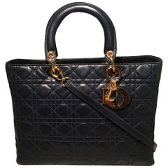 Christian Dior Navy Blue Leather Cannage Quilted Large Lady Dior Bag