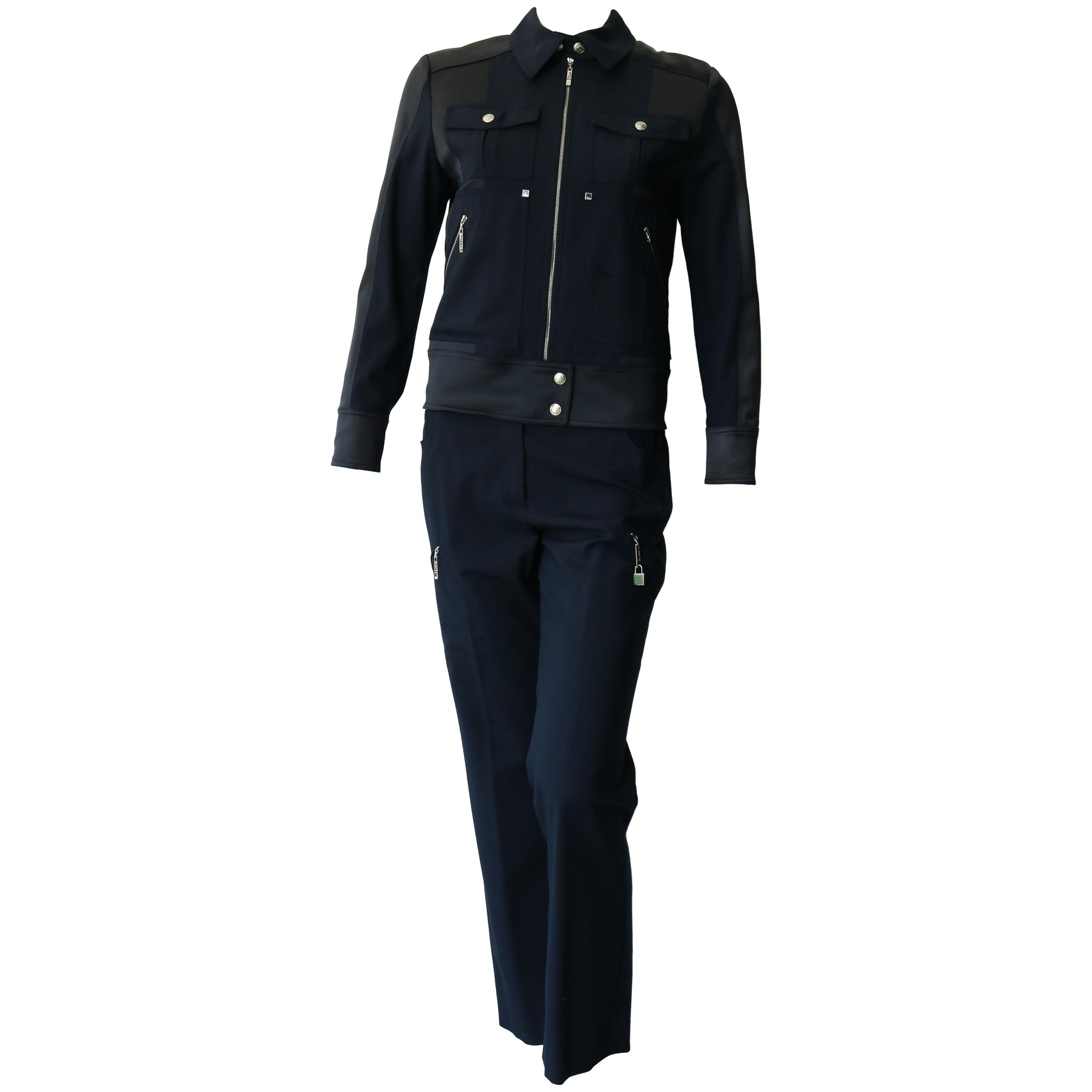 Christian Dior Navy Blue Jacket and Trouser Ensemble Size US 6