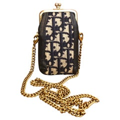 CHRISTIAN DIOR Navy Jacquard Trotter Coin Pouch KIss Clasp (Modified)