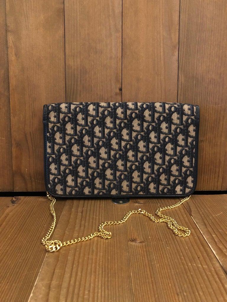 Black Vintage CHRISTIAN DIOR Navy Trotter Chain Shoulder Bag