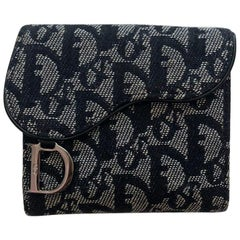 Christian Dior Navy Vintage Canvas Monogram Wallet