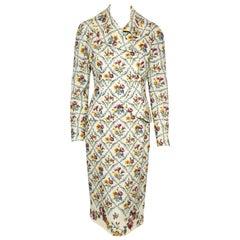 Christian Dior Needle Point Floral Print Dress & Jacket Suit