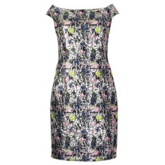 CHRISTIAN DIOR neon FLORAL BROCADE Cocktail Dress 42