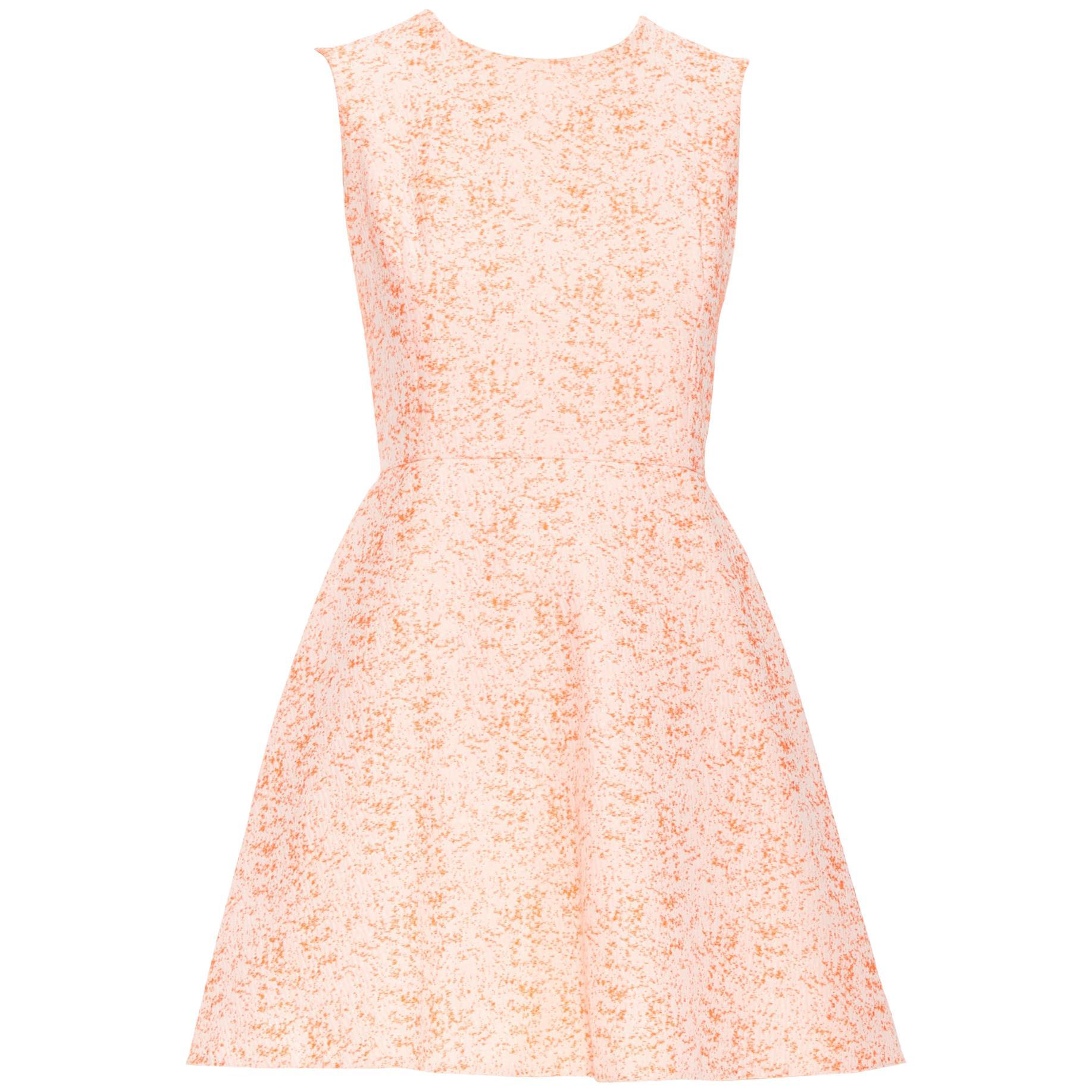 CHRISTIAN DIOR neon orange cotton jacquard fit flared cocktail dress FR34 XS