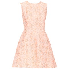 CHRISTIAN DIOR neon orange cotton jacquard fit flared cocktail dress FR34 XS