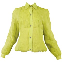 Christian Dior Neon Yellow Fur and Leather Jacket 2001
