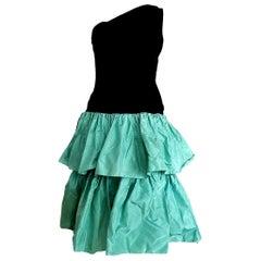 "Christian DIOR ""New"" Black Velvet Silk one Shoulder Top Flounced Skirt - Unworn"