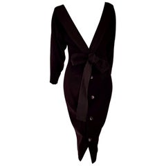 """Christian DIOR """"New"""" Black Wool Silk Satin Bow on the Back Evening Gown- Unworn"""