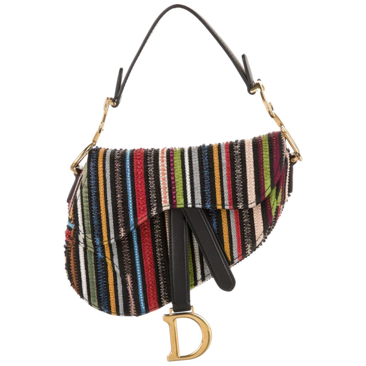 Christian Dior NEW Canvas Multi Stripe Bead Mini Logo Saddle Shoulder Handle Bag