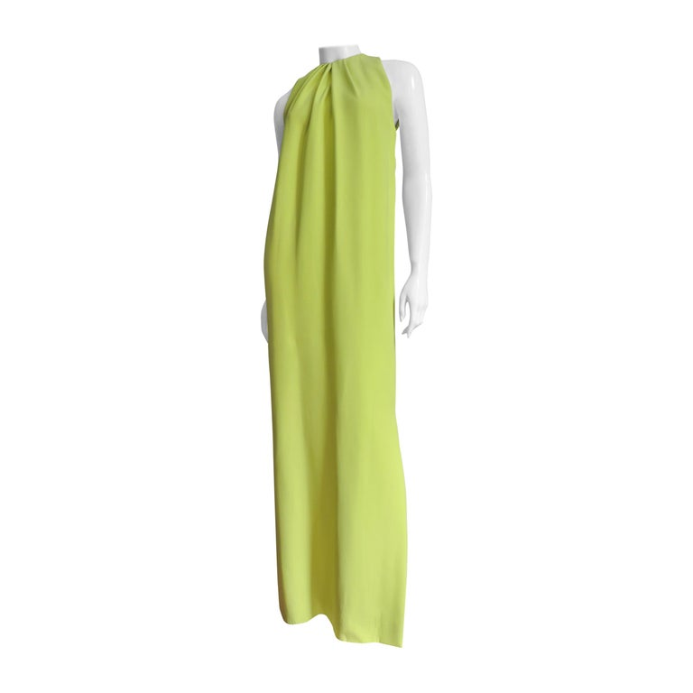 Christian Dior New Citron Silk Gown For Sale