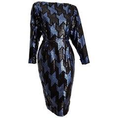 """Christian DIOR """"New"""" Couture Blue Black Swarovski Sequins Organza Silk - Unworn"""