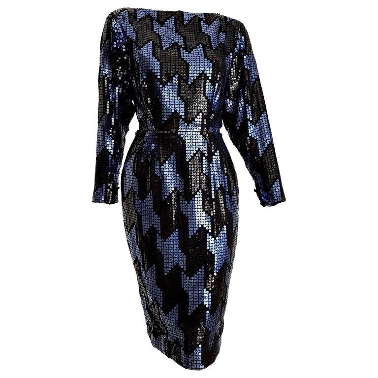 "Christian DIOR ""New"" Couture Blue Black Swarovski Sequins Organza Silk - Unworn For Sale"
