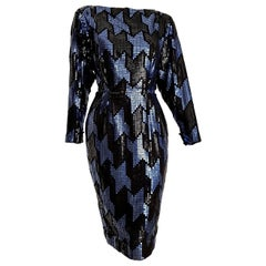 "Christian DIOR ""New"" Couture Blue Black Swarovski Sequins Organza Silk - Unworn"