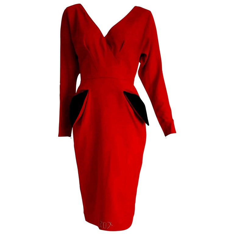 """Christian DIOR """"New"""" Couture Red Black Pokets Buttons Wool Cotton Dress - Unworn For Sale"""