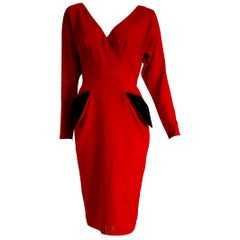 """Christian DIOR """"New"""" Couture Red Black Pokets Buttons Wool Cotton Dress - Unworn"""