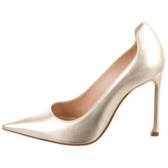 Christian Dior NEW Gold Metallic Leather Evening Heels Pumps
