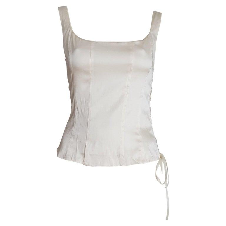 "Christian DIOR ""New"" Haute Couture Double Silk Cream Top Corset - Unworn For Sale"