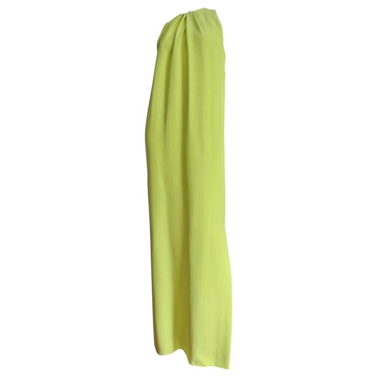 Christian Dior New Lemon Lime Silk Gown For Sale