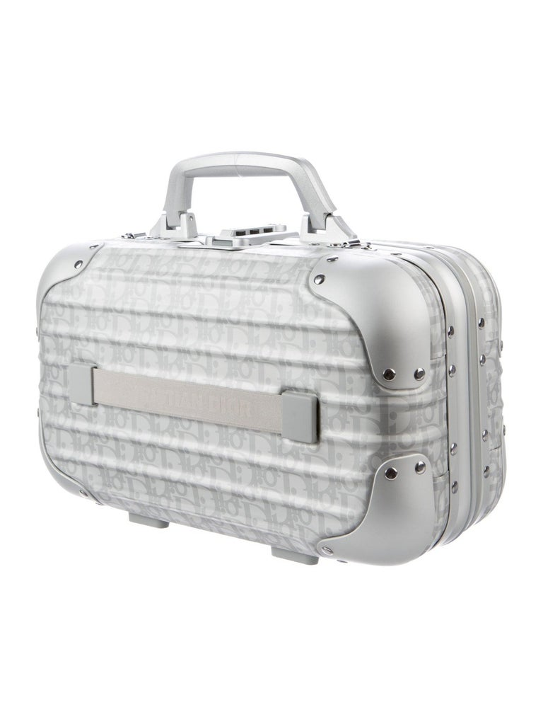 Women's or Men's Christian Dior NEW Limited Edition Silver Aluminum Travel Top Handle Satchel Bag For Sale