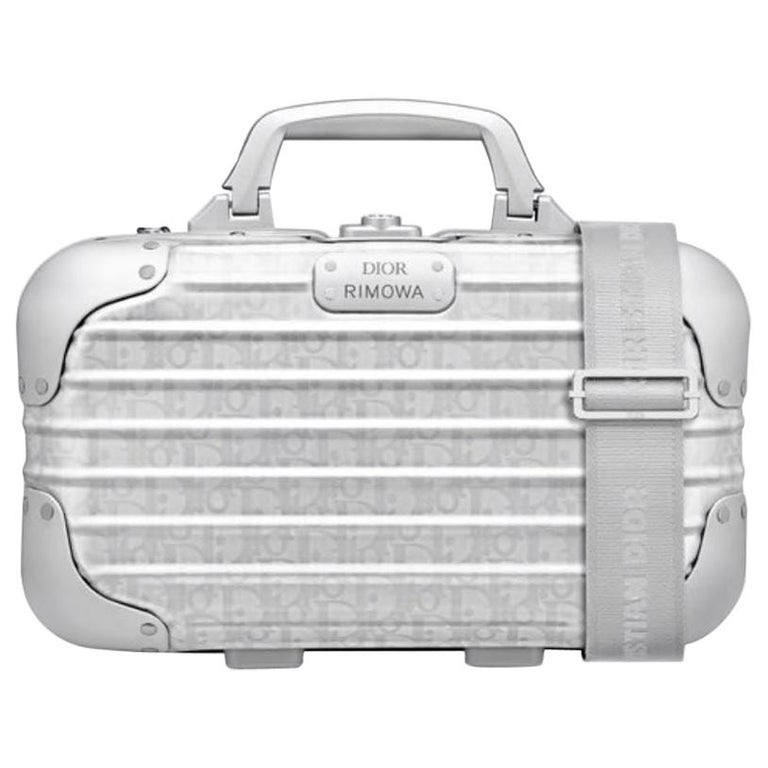 Christian Dior NEW Limited Edition Silver Aluminum Travel Top Handle Satchel Bag For Sale