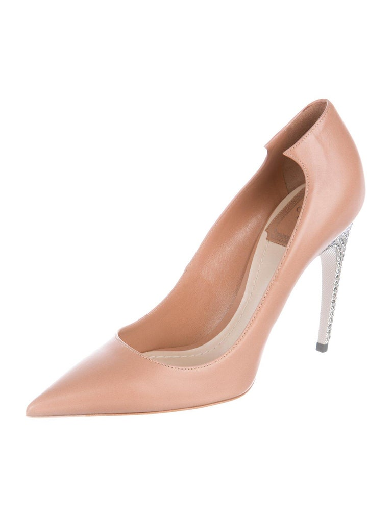 e3814e2f0 Christian Dior NEW Nude Blush Leather Crystal Evening Pumps Heels in Box  Size IT 36.5 Leather