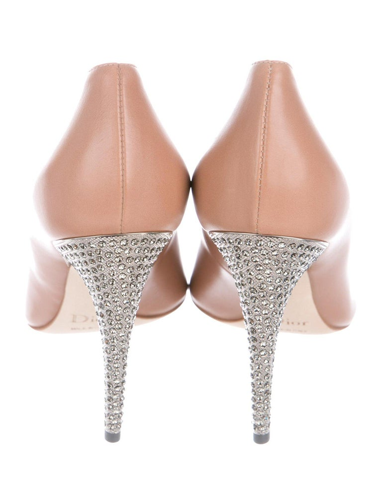 dfdde8cc3 Christian Dior NEW Nude Blush Leather Crystal Evening Pumps Heels in Box In New  Condition For