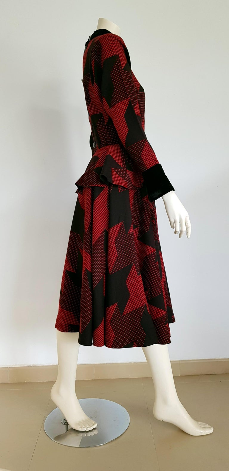 Christian DIOR red and black wool, with black velvet cuffs and collar, with Dior velvet leather belt, geometric fabric designs, godet dress - Unworn, New.  SIZE: equivalent to about Small / Medium, please review approx measurements as follows in cm:
