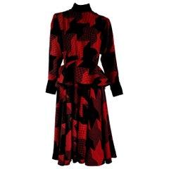 """Christian DIOR """"New"""" Red Black with Velvet Cuffs Collar Belt Wool Dress- Unworn"""